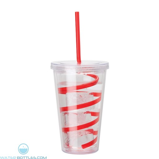 Double Wall AS Tumblers | 16 oz - Clear with Red Curly Straw