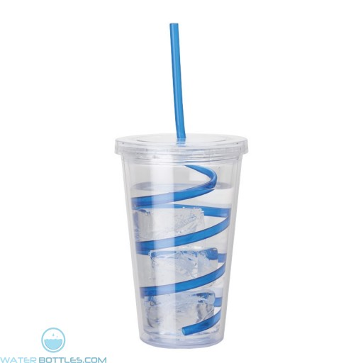 Double Wall AS Tumblers | 16 oz - Clear with Blue Curly Straw