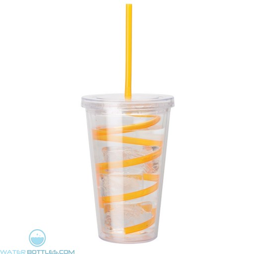 Double Wall AS Tumblers | 16 oz - Clear with Orange Curly Straw