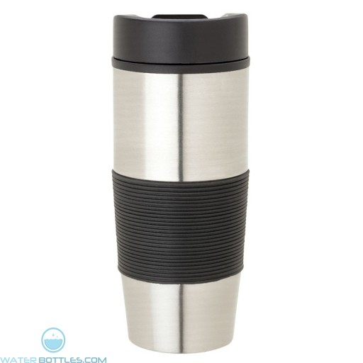 Steel & PP Tumblers | 16 oz - Stainless Steel with Black Rubber Grip