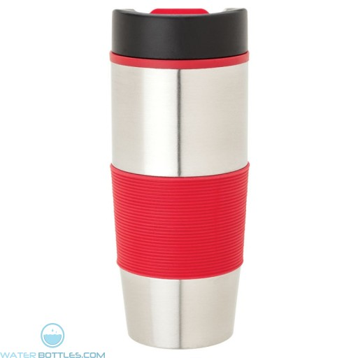 Steel & PP Tumblers | 16 oz - Stainless Steel with Red Rubber Grip
