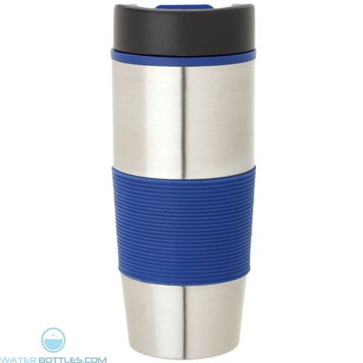 Steel & PP Tumblers   16 oz - Stainless Steel with Blue Rubber Grip