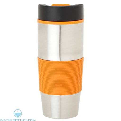 Steel & PP Tumblers | 16 oz - Stainless Steel with Orange Rubber Grip
