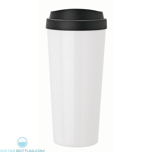 Double Wall Polypropylene Tumblers | 18 oz - White with Black Sipper Lid
