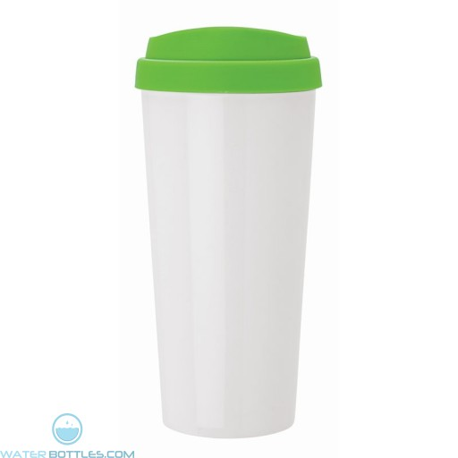 Double Wall Polypropylene Tumblers | 18 oz - White with Lime Green Sipper Lid