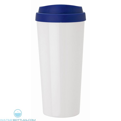 Double Wall Polypropylene Tumblers   18 oz - White with Blue Sipper Lid