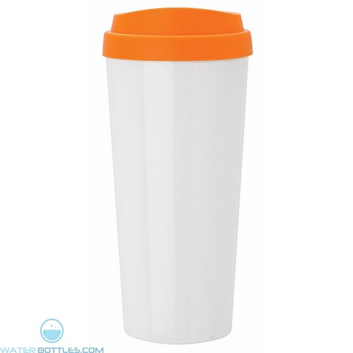 Double Wall Polypropylene Tumblers | 18 oz - White with Orange Sipper Lid