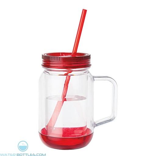 Handled Mason Jar Mugs | 17 oz - Clear Jar with Red Lid