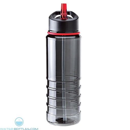 Tritan Water Bottles| 25 oz - Charcoal Bottles with Red Drinking Spout