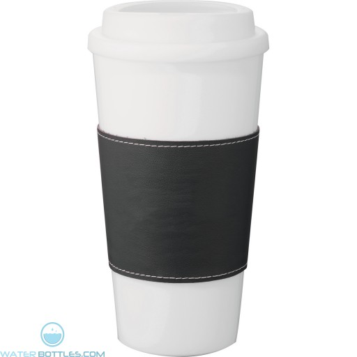 Mega Double-Wall Plastic Tumblers with Wrap   16 oz - White with Black Grip