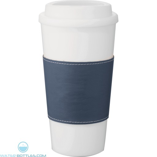 Mega Double-Wall Plastic Tumblers with Wrap | 16 oz - White with Blue Grip
