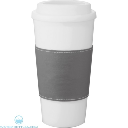 Mega Double-Wall Plastic Tumblers with Wrap | 16 oz - White with Grey Grip