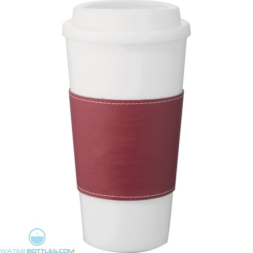 Mega Double-Wall Plastic Tumblers with Wrap | 16 oz - White with Red Grip