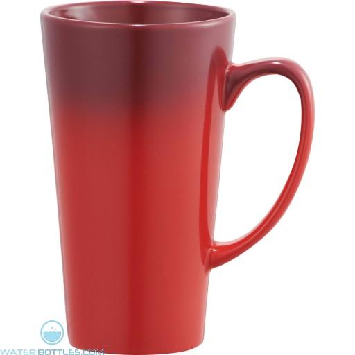 Cafe Tall Latte Ceramic Mugs | 14 oz - Red