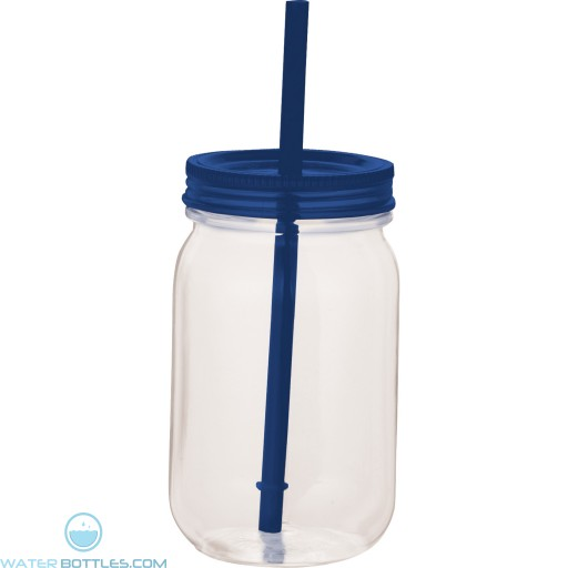 Game Day Mason Jar | 25 oz - Clear with Blue Lid