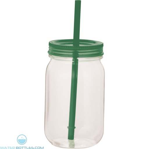 Game Day Mason Jar | 25 oz - Clear with Green Lid