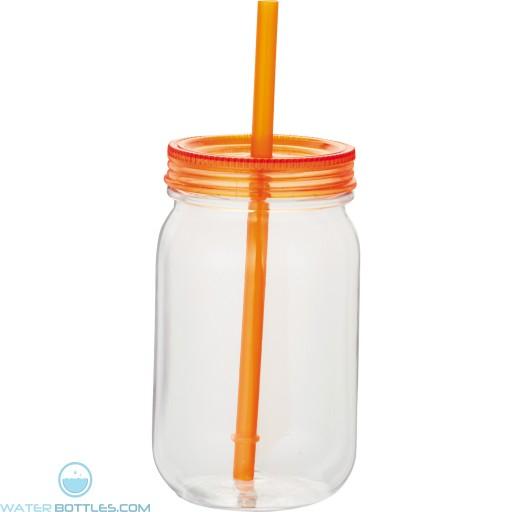 Game Day Mason Jar   25 oz - Clear with Orange Lid