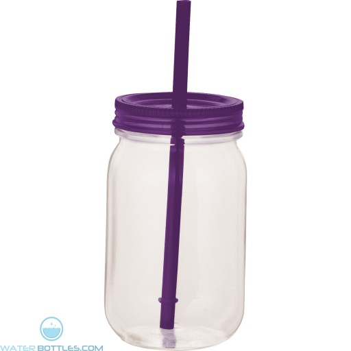 Game Day Mason Jar | 25 oz - Clear with Purple Lid