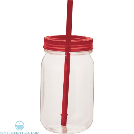 Game Day Mason Jar   25 oz - Clear with Red Lid
