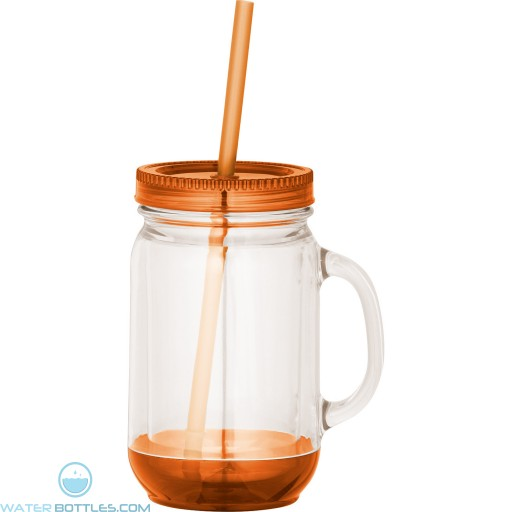 Game Day Double-Wall Mason Jar | 20 oz - Clear with Orange Lid