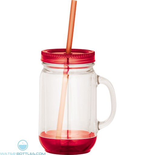 Game Day Double-Wall Mason Jar | 20 oz - Clear with Red Lid