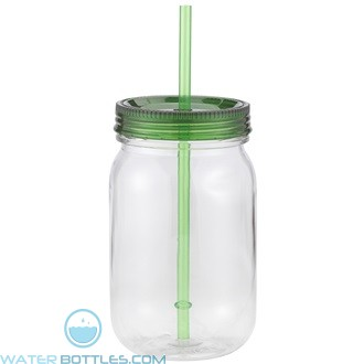 Classic Mason   24 oz - Clear with Green Lid