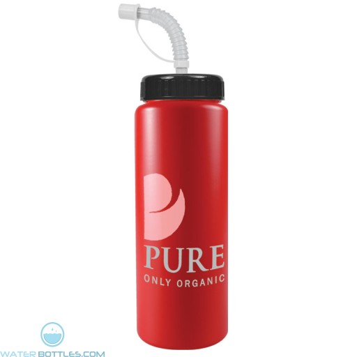 The Sports Quart - 32 oz Bottles Colors (Straw Lid)-Red