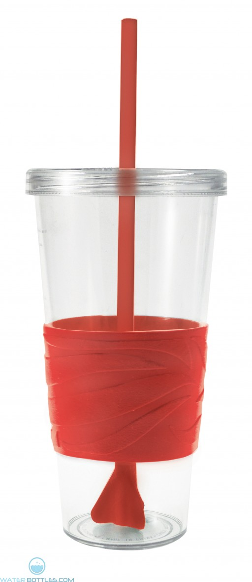 Revolution Tumblers | 24 oz - Clear with Red Rubber Grip