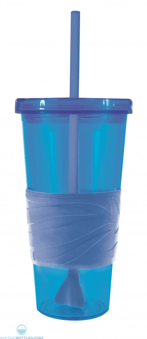 Revolution Tumblers   24 oz - Blue with Blue Rubber Grip