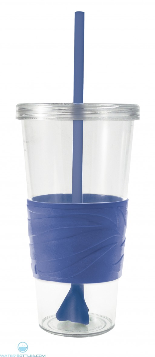 Revolution Tumblers | 24 oz - Clear with Royal Blue Rubber Grip
