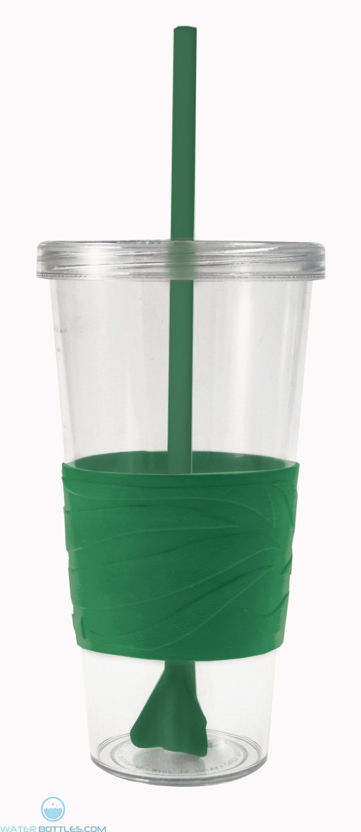 Revolution Tumblers | 24 oz - Clear with Hunter Green Rubber Grip
