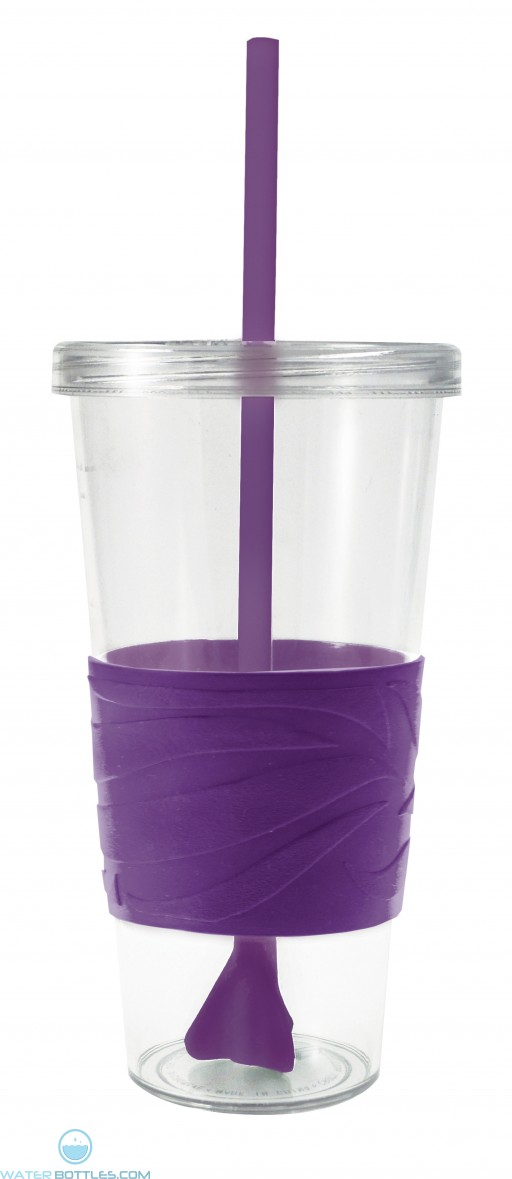 Revolution Tumblers | 24 oz - Clear with Purple Rubber Grip