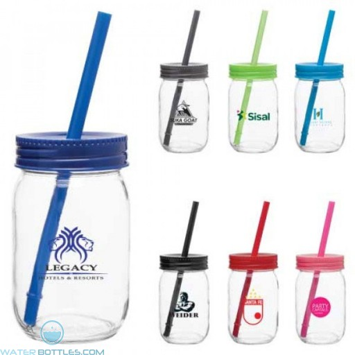 Glass Mason Jar With Color Lid | 16 oz
