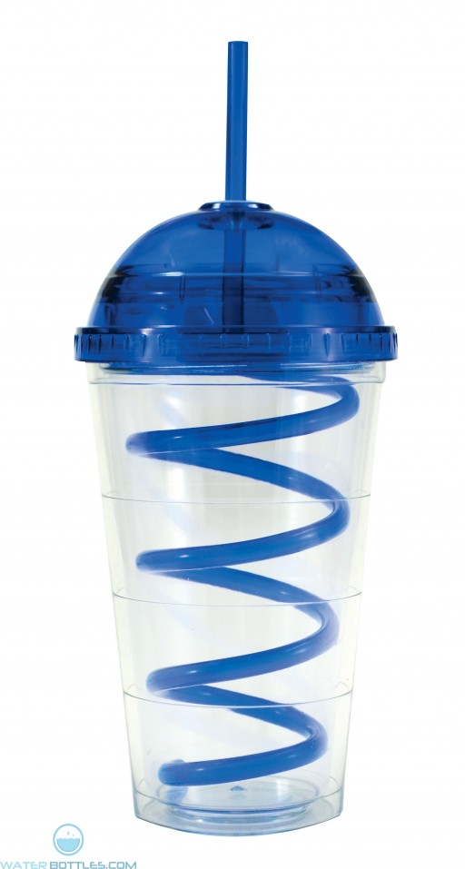Super Dome Tumblers | 16 oz - Clear with Royal Blue Dome Lid and Straw