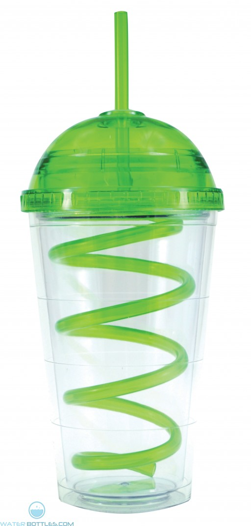 Super Dome Tumblers | 16 oz - Clear with Green Dome Lid and Straw