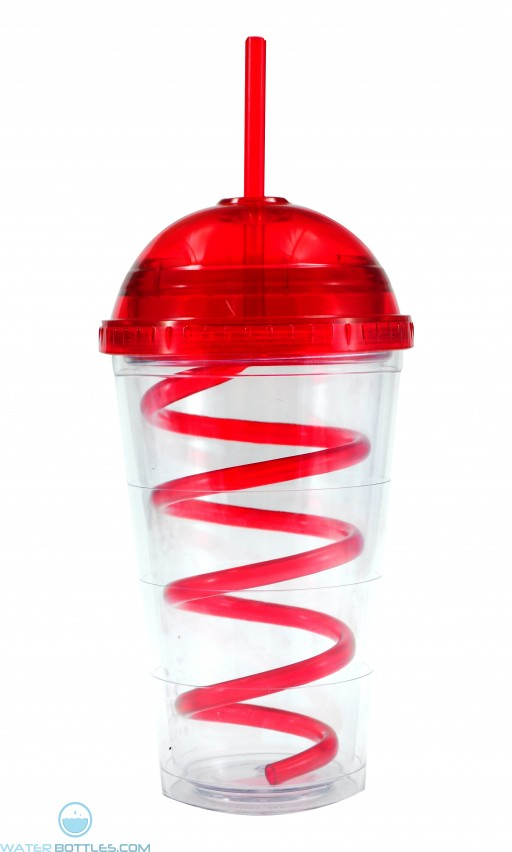 Super Dome Tumblers | 16 oz - Clear with Red Dome Lid and Straw