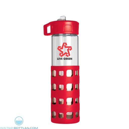 Sip-N-Go Glass Water Bottles | 20 oz - Red