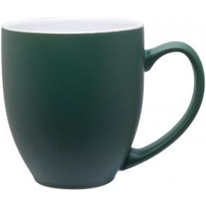 15 oz bistro mugs - 2 tone-matte green / glossy white