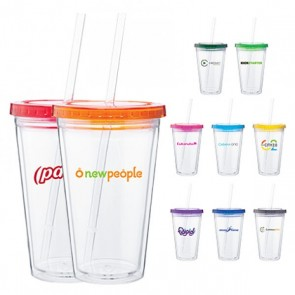 Custom Spirit Tumblers - 16 oz spirit tumbler with color lid