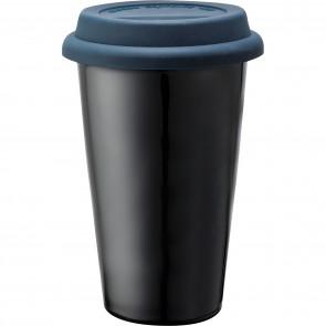 Branded Black Ceramic Tumblers   11 oz - Blue
