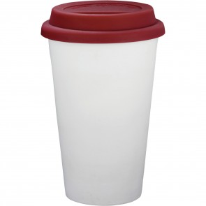 Branded White Ceramic Tumblers | 11 oz - Red