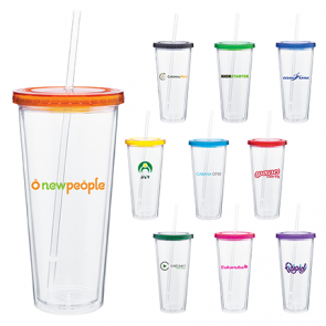 Custom Spirit Tumblers - 20 oz spirit tumbler with color lid