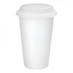 Double Wall Ceramic Tumblers | 11 oz - White with White Silicone Lid