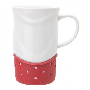 Ceramic Mugs | 14 oz - White with Red Base