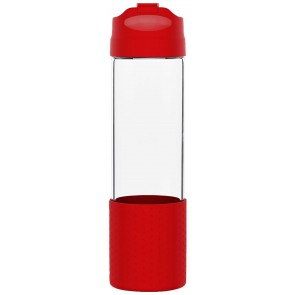 H2Go Pure Glass Water Bottles | 18 oz - Red
