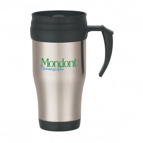 Promotional Mugs - Stainless Steel Travel Mug With Slide Action Lid And Plastic Inner Liner | 16 oz