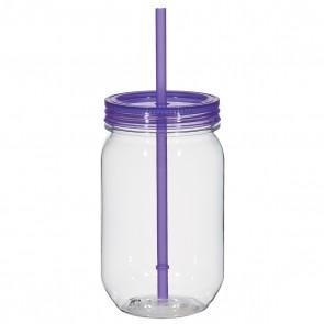 Mason Jar With Matching Straw | 25 oz - Purple