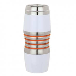 Acrylic & Steel Tumblers | 16 oz - Stainless Steel with Orange Rings