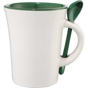Dolce Ceramic Mugs With Spoon | 10 oz - White with Green Trim