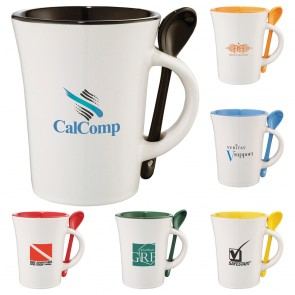 Promotional Mugs - Dolce Ceramic Mug With Spoon | 10 oz